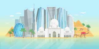 United Arab Emirates Poster. With view at mosque and modern buildings on blue background vector illustration stock illustration