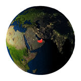 United Arab Emirates in red on Earth isolated on white Royalty Free Stock Images