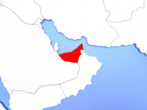 United Arab Emirates in red on map Stock Photo