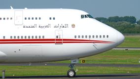United Arab Emirates Royal Flight Boeing 747 taxiing stock video footage