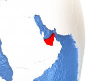 United Arab Emirates on shiny globe with water Royalty Free Stock Photography