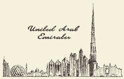 United Arab Emirates skyline vector drawn sketch Stock Photography