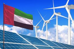 United Arab Emirates solar and wind energy, renewable energy concept with solar panels - renewable energy against global warming. United Arab Emirates solar and stock images