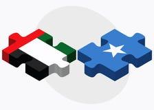 United Arab Emirates and Somalia Flags in puzzle isolated on white background Royalty Free Stock Photo