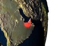 United Arab Emirates from space during dusk Royalty Free Stock Images
