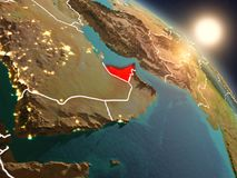 United Arab Emirates from space during sunrise. Sunset above United Arab Emirates from space on planet Earth with visible country borders. 3D illustration Stock Image