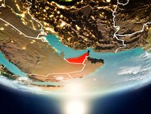 United Arab Emirates with sun on planet Earth. United Arab Emirates from orbit of planet Earth in sunrise with highly detailed surface textures and visible Royalty Free Stock Photos