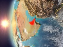 United Arab Emirates during sunset from space. United Arab Emirates as seen from space on planet Earth during sunset. 3D illustration. Elements of this image Royalty Free Stock Image