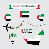 United Arab Emirates symbols. UAE flag and map icons set. United Arab Emirates symbols. Independence Day. Vector Illustration Stock Photos