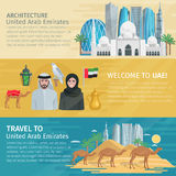 United Arab Emirates Travel Banners Set Stock Images