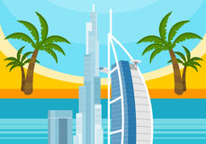 United Arab Emirates Travelling Banner. Landscape Stock Photography