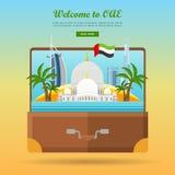 United Arab Emirates Travelling Banner. Suitcase stock illustration