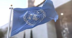 United Arab Emirates or UAE Flag flagstaff Slow motion seamless loop