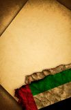 United Arab Emirates / UAE flag and old paper. United Arab Emirates / UAE flag and old document papers Royalty Free Stock Image