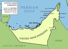 Map of UAE. United Arab Emirates (UAE) map. Outline vector country map with main cities and data table Royalty Free Stock Image