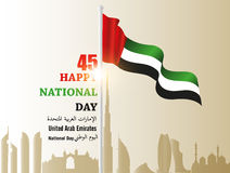 United Arab Emirates  UAE  National Day, with an inscription in Arabic translation. `Spirit of the union, National Day, United Arab Emirates` , Vector Royalty Free Stock Image