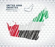 United Arab Emirates vector map with flag inside isolated on a white background. Sketch chalk hand drawn illustration. Vector sketch map of United Arab Emirates stock illustration
