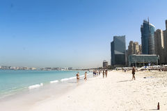 United Arabian Emirates. Travelling. Dubai. Sun winter day at the Dubai beach Royalty Free Stock Photo
