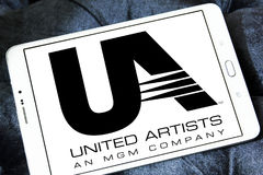 United Artists, UA film studio logo. Logo of the american United Artists, UA film studio on samsung tablet Royalty Free Stock Photo