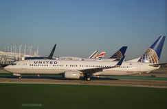 United Boeing 737 aircraft taxing at O'Hare International Airport in Chicago Royalty Free Stock Image
