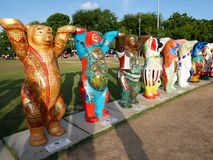 United Buddy Bear exhibition in Penang, Malaysia. Each Buddy Bear shows the individual design created by different artists on behalf of their native countries Stock Images