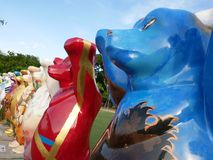 United Buddy Bear exhibition in Penang, Malaysia. Each Buddy Bear shows the individual design created by different artists on behalf of their native countries Stock Image
