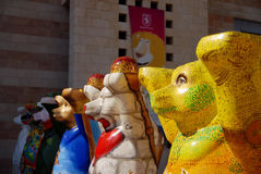 United Buddy Bears in Jerusalem Israel. JERUSALEM - AUG 18:United Buddy Bears on August 18 2007.It's an international art exhibition with more than 140 bears stock photo