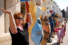 United Buddy Bears in Jerusalem Israel. JERUSALEM - AUG 18:United Buddy Bears on August 18 2007.It's an international art exhibition with more than 140 bears stock photos