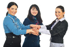 United busienss women with hands together Stock Photography