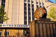 Blackhawks, United Center, Chicago. The United Center honors those who have donned a Chicago Blackhawks jersey stock photography
