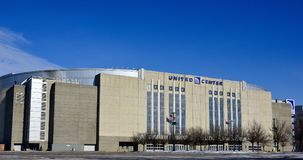 The United Center. This is a Winter picture of the iconic United Center located on the Westside of Chicago, Illinois in Cook County. This multi-use facility is royalty free stock photos