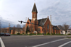 United Church of Christ, Congregational. Located on the northeast corner of the Town Square, Medina UCC has been ministering to the Medina community since the Royalty Free Stock Image