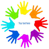 United colored palms of hands. Vector isolated illustration Stock Photo