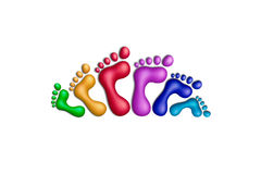 United colors-28. Multicolored plasticine footprints on a white background Stock Photo