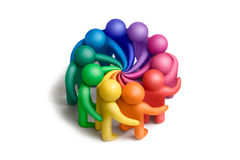 United colors-38. Multicolored plasticine human figures concluding an agreement on a white background Stock Image