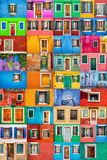 United colors of Burano. Collage set of 36 horizontal colorful windows and doors in picturesque island of Burano; Italy Royalty Free Stock Images