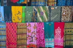 United colours of Bali. Some sarongs in Bali shop Stock Image