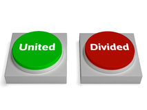 United Divided Buttons Show Unite Or Divide Royalty Free Stock Photo