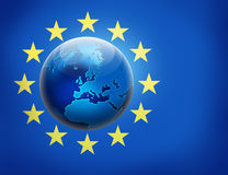 United Europe flag and globe over it Stock Images