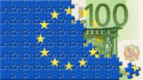 United Europe flag over 100 euro. With puzzle design Vector Illustration