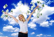 United europe money and happiness Royalty Free Stock Photography