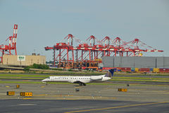 United Express flight just landed on the runway Royalty Free Stock Photo