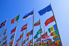 United flags. Flags on blue sky, Leipzig, Germany Stock Photo