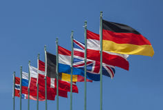 United flags. Various flags in front of clear blue sky Royalty Free Stock Image