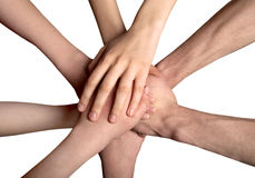 United hands. Group of hands, family love, help, charity