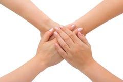 United hands. Isolated on white background Royalty Free Stock Photo