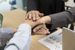 united hands of businessmen for use as teamwork concept Royalty Free Stock Photos