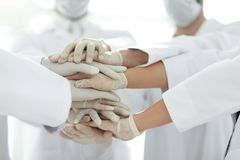 United hands of medical team close up Royalty Free Stock Images