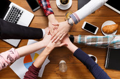 United hands teamwork in office concept Royalty Free Stock Photos