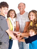 United happy family smiling at camera Stock Photos
